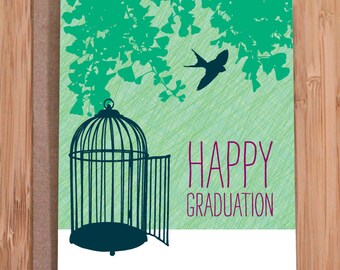 graduation card / bird cage free