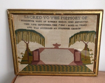 Rare Authentic Framed 19th Century Momento Mori Antique Victorian Memorial Mourning 1849 Embroidery Needlework Sampler