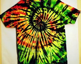 Tie Dye Rasta and Black Spiral Short Sleeve T-Shirt