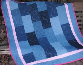 Quilts for Sale - Denim Quilt - Pink Pennants- Baby Quilt, Youth Quilt