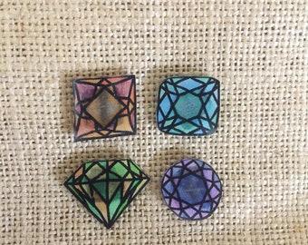 Diamond shaped magnets set, sets of 4, magnet for boards, fridge
