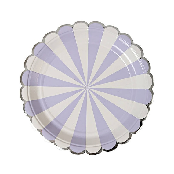 Lavender paper plate with silver foil scalloped edges. DESSERT SIZE purple and white party plates. Striped paper plate. Lavender party plate from ...  sc 1 st  Etsy Studio & Lavender paper plate with silver foil scalloped edges. DESSERT SIZE ...