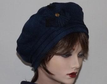 Ladies Harris Tweed Beret, Blue Tweed Tam