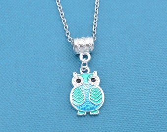 Little girl's owl charm pendant in acrylic on stainless steel chain.  Owl gift.  Owl necklace.  Owl jewelry.  Little girl necklace.