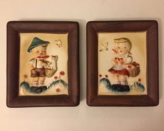 Vintage Hummel Style Hansel and Gretel Ceramic Wall Hangings, Set of 2 Kitsch Boy and Girl Plaques, 1960s Napco,  Mid-Century Children Decor