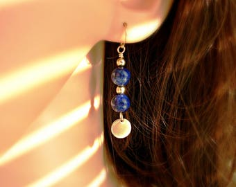 Lapis and Gold Gemstone Earrings With Gold Disc Charm - Gift For Her - Gift For Mom