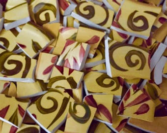 Mosaic Tiles from Broken Plate Yellow Brown Swirl Pottery - 100 Pieces