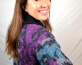 Vintage 80s Oversized Rainbow Sweater Cardigan