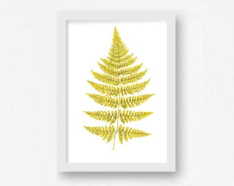Fern Print, Leaf Print, INSTANT DOWNLOAD, Botanical Wall Art, Modern Nature Wall Art, Living Room Decor, Botanical Decor, Yellow Wall Art