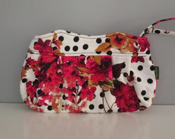 Small Floral Clutch, Wristlet Clutch, Pink Clutch Purse, Evening Clutch, Wedding Accessory, Bridesmaid Clutch