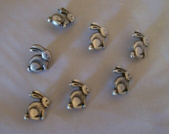 Fun! Pewterette Bunny Buttons, Shank style, 5/8 inch across