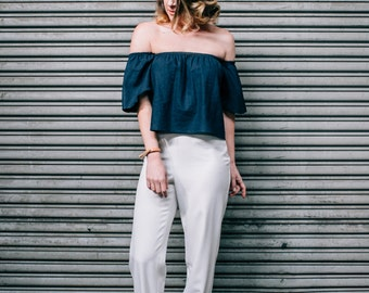 White High Rise Tapered Pants