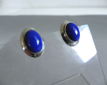 Vintage Modern Navajo Sterling and Lapis Earrings , Blue gemstone Sterling Signed RW Earrings - pierced or clip your choice
