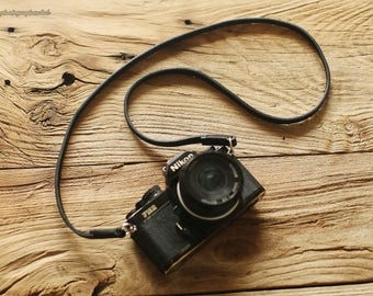 Cool black top 8mm black thicken handmade Camera neck shoulder strap