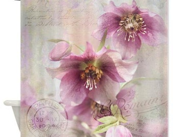 Purple Hellebore Shower Curtain, white, pink,bathroom,home decor,pastel flowers,nature,typography,floral shower curtain