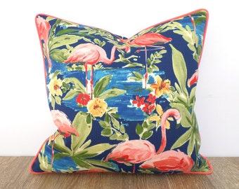 Flamingo outdoor pillow cover, tropical outdoor cushion cover beach house decor, blue and coral pillow case coral flamingo print