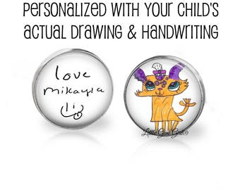 Signature Cuff Links - Your Child's Drawing Cuff Links - Kids Artwork Cuff Links - Childs actual Handwriting or Drawing for Fathers Day