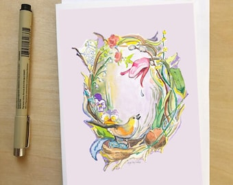 Spring Wreath, 5x7 card, Ready to Ship