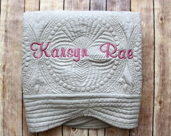 Monogrammed Baby Quilt, Personalized Baby Blanket, Personalized Baby Quilt, Monogrammed Blanket, Gray Quilt, Baby Quilt,  Gray Baby Blanket