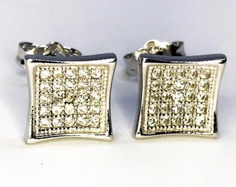 Curvy Square Sterling Silver Earrings