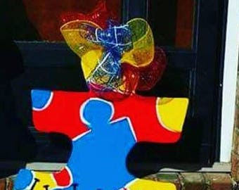 Autism Door Hanger, puzzle piece door hanger, autism ribbon, autism strong door hanger, autism wreath door hanger