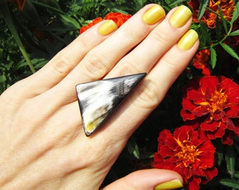 Large Triangular Ring of Buffalo Horn, african jewelry, horn ring, tribal ring, african ring, adjustable ring