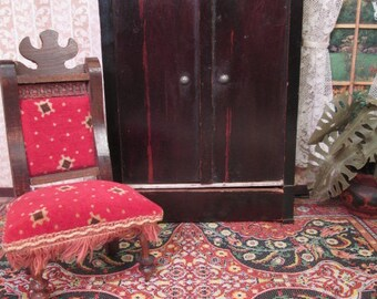 "German Dollhouse Furniture - Biedermeier Kestner Wardrobe with Faux Grain Painted Finish- 1"" Scale"