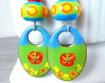 Butterfly Enamel Dangle Earrings, Green Orange Yellow Blue Boho Earrings, Colorful Enameled Copper Jewelry, Summer, Lampwork,  Glass, Unique