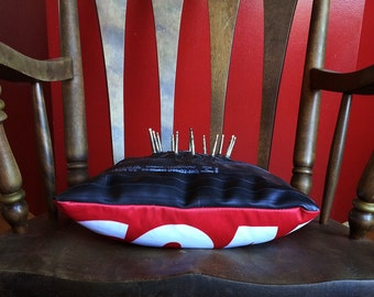 Decorative pillow made from bike tubes and valves - Inner Tubes - Pillow - Urchin Bags - Made in Canada