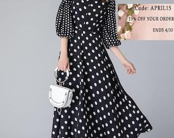 Black and White  polka dot dress, retro womens dress, summer dress, party dress, formal maxi dress, puff sleeves dress, polyester dress 1901