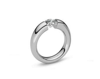 White Sapphire Tapered Engagement Tension Set Ring in Stainless Steel
