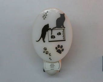 Cat NLs 4 Choices - Ready to Ship - Black & White Fused Glass Night Lights - ALL CATS!!