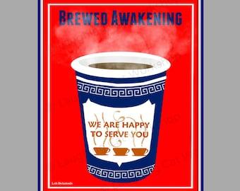 Coffee print Funny coffee wall art NY NYC New York print college dorm teen wall art kitchen wall decor coffee lover gift Starbucks art java