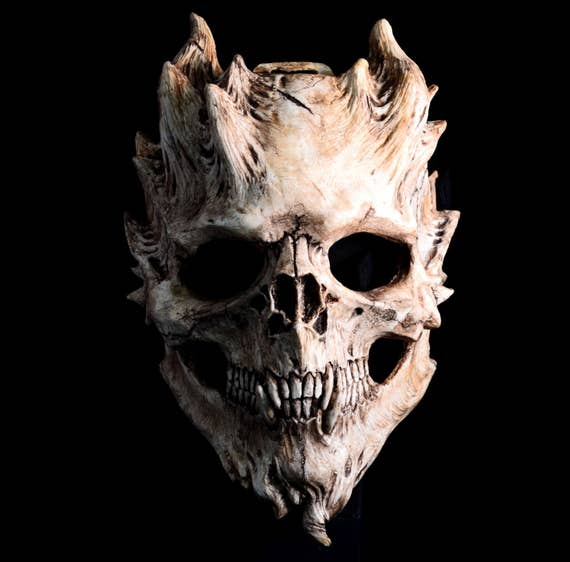Pre order bone warrior aged bone skull mask demon skull horror halloween costume finished