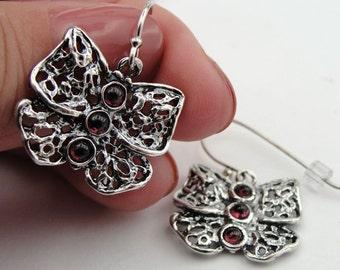 Garnet Sterling silver earrings , Gemstone earrings, Red stone earrings, dangle earrings,  vintage earrings, Free Shipping, Birthday Gift