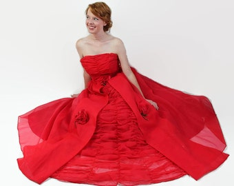 50s 60s Party Dress, Red, Vintage Wedding, Tulle Petticoat, Organza
