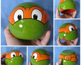 Ninja Turtle Ceramic Tilted Bowl (Made to Order and Customizable)