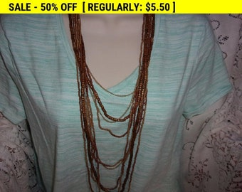 Vintage wood, chain, and seed bead necklace, hippie, boho