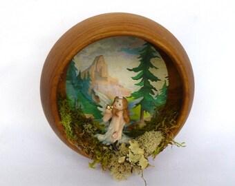 FAIRY WALL DIORAMA/ Upcycled wood bowl wall diorama