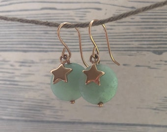 Pink gold plated earrings with amazonite and asterisks