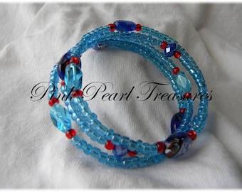 Cool Blue Coil beaded bracelet