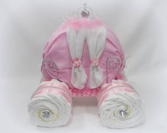 Princess Diaper Cake - Princess Carriage - Girl Baby Shower - Cinderella Baby Gift - Baby Shower Centerpiece - Pink Diaper Cake