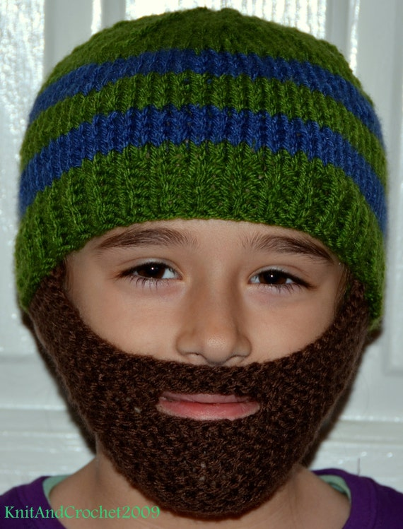 Toddler Knit Hat With Beard Zoom