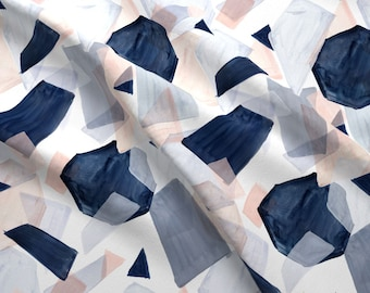 Geo Fabric - Geo Shapes Navy Blush By Crystal Walen - Geo Abstract Navy Blush Gray Modern Decor Cotton Fabric By The Yard With Spoonflower
