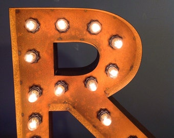 """12"""" Vintage Marquee Light Letter R (rustic) 12"""" Free Shipping"""