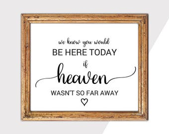 Rustic Memorial Wedding Sign Printable: We Know You Would Be Here Today If Heaven Wasn't So Far Away Sign, DIY Instant Download PDF K008