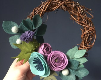 Scottish felt flower Wreath - various sizes