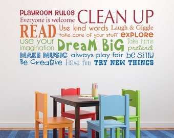 Playroom Rules Decal - Have Fun - Read - Dream Big - Make Music - Multiple Color Version - Horizontal Large