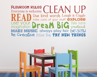 Playroom Rules Decal   Have Fun   Read   Dream Big   Make Music   Multiple