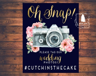 PRINTABLE Wedding Instagram Sign, Social media sign, Wedding hashtag sign, gold, blush, Oh Snap, navy and blush, hashtag sign, navy wedding